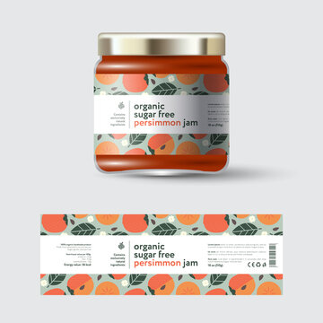 Persimmon Jam label and packaging. Jar with cap with label. White strip with text and on seamless pattern with fruits, flowers and leaves.