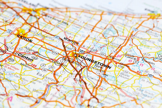 Youngstown city road map area. Closeup macro view