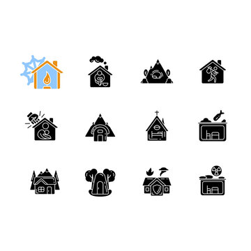 Shelters types black glyph icons set on white space. Building. Safety and retreat place. Transitional shelter. Supportive housing. Protection. Silhouette symbols. Vector isolated illustration