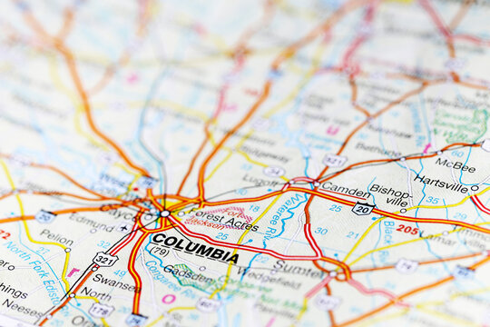 Columbia city road map area. Closeup macro view