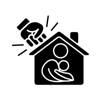 Women shelter black glyph icon. Safe accommodation. Families support. Domestic violence and abuse victims. Transitional housing. Silhouette symbol on white space. Vector isolated illustration