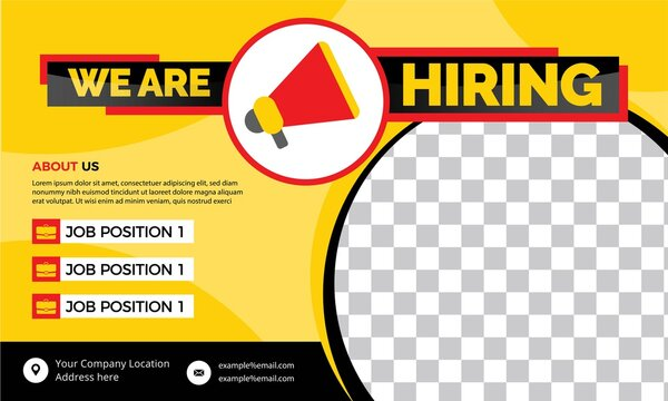 we are hiring banner, vector