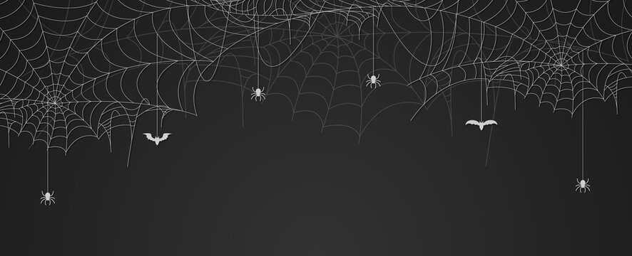 Spider web banner with spiders and bats hanging, cobweb background, copy space