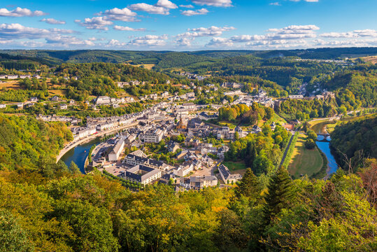High angle view on the Village of Bouillon and the surrounding Semois river in the Luxembourg Province and Ardennes Region of Wallonia Belgium