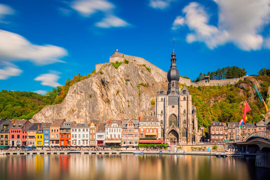 Long exposure of the Village of Dinant in the Namur Province and Ardennes Region of Wallonia, Belgium. The Meuse river flows through Dinant.
