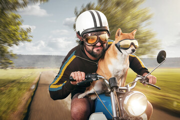 Man and his dog on a vintage motorcycle at top speed
