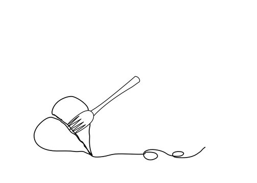 Line art of The heart is stab with spoon fork . Isolate on white background. For your text.