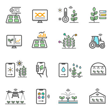 Smart farm, agriculture electronic technology color line icons set isolated on white.
