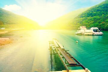 bay in Istria, Croatia with sunlight