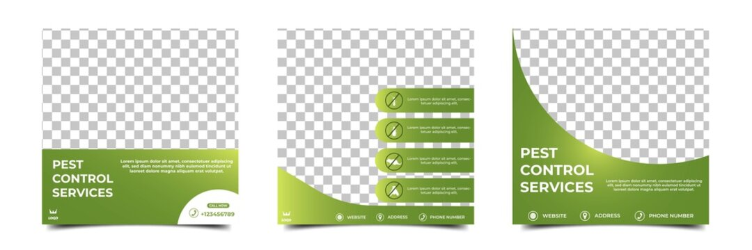 Set of Editable promotion banner template. Pest control and home care services social media post design. Suitable for social media, flyers, banners, and web ads. Flat design vector with photo collage.