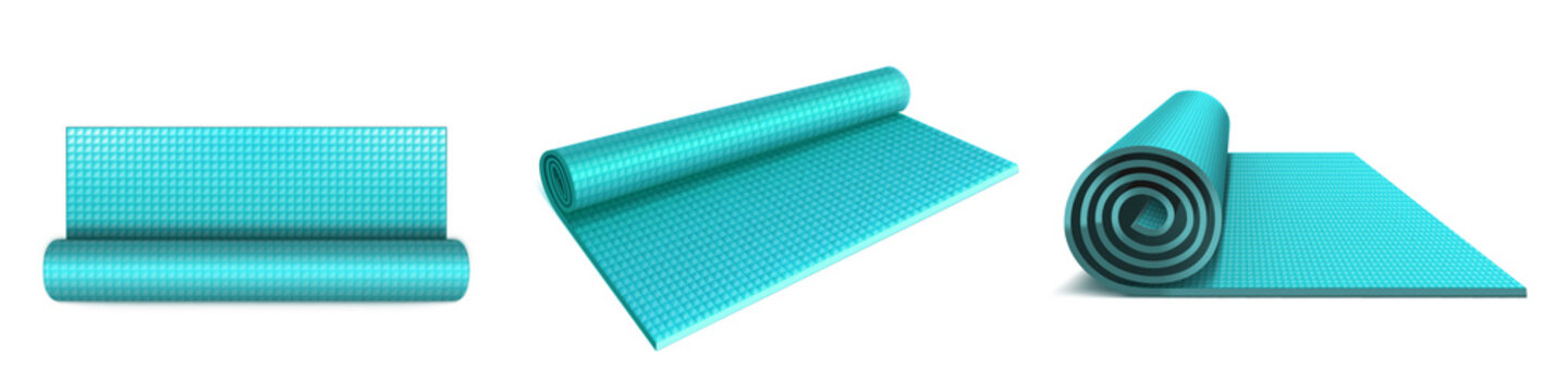 Yoga mat top, angle and side view, blue rolled mattress for fitness exercises, stretching, meditation, sports workout on floor, flat aerobics rug isolated on white. Realistic 3d vector illustration