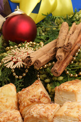 christmas decoration with biscuitl and organic cinnamon