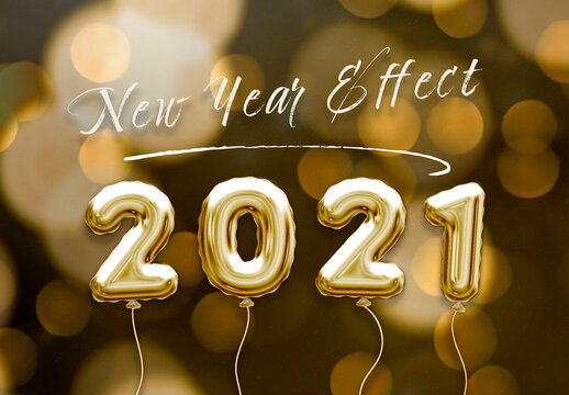 Foil New Year Balloon Text Effect Mockup
