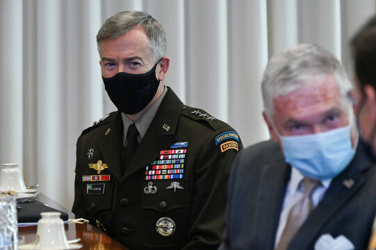 U.S. Lieutenant General Fenton participates in a meeting at the Pentagon