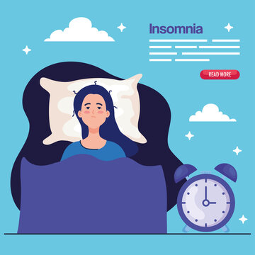 insomnia woman on bed with clock design, sleep and night theme Vector illustration