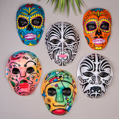 carnival masks decorative on the wall