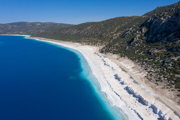Amazing coast of Salda lake: white coast and turquoise water