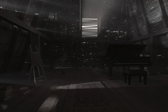 3d rendering of darken empty attic with black piano and bright light rays