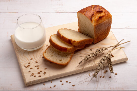 white bread with milk on a cutting board