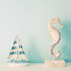 Seahorse and ship for decorated in room with retro filter effect