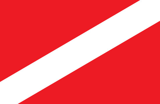 Red and white scuba dive flag