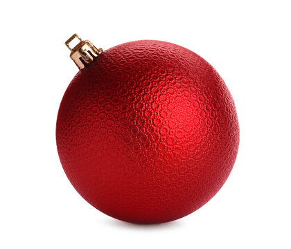 Beautiful red Christmas ball isolated on white