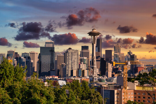 Seattle City Skyline, Washington, United States of America. Modern American City on the West Coast during a Sunny and Cloudy Sunset. Artistic Render