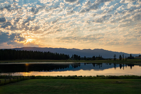 Sunset Over a Lake in Whitefish Montana