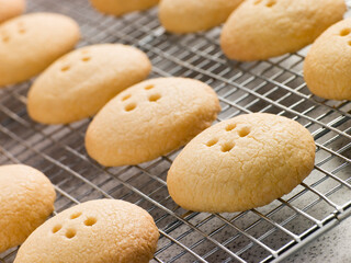 Wellington Button Biscuits on a Cooling Rack