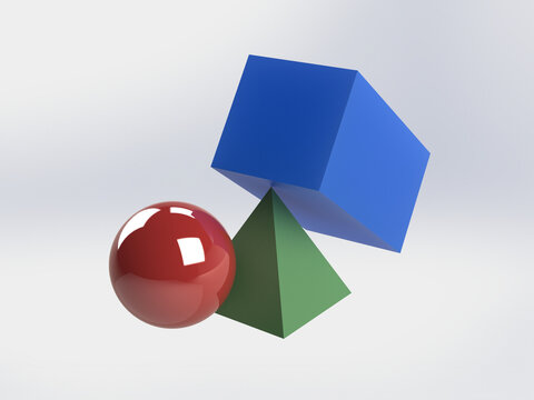 3D Illustration of Colorful Shapes