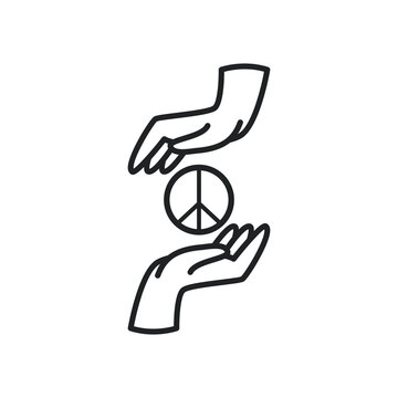 peace and love between hands line style icon vector design