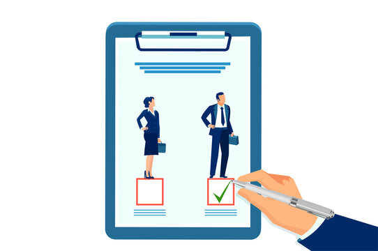 Vector of an employer making a choice in favor of a male candidate