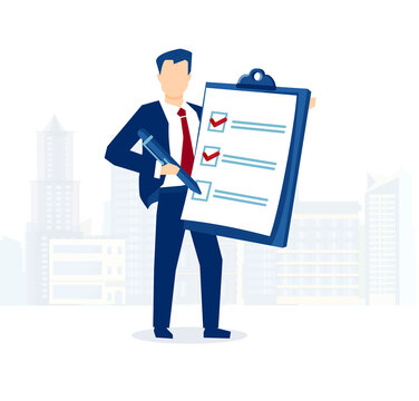 Vector of a business man holding clipboard with checklist