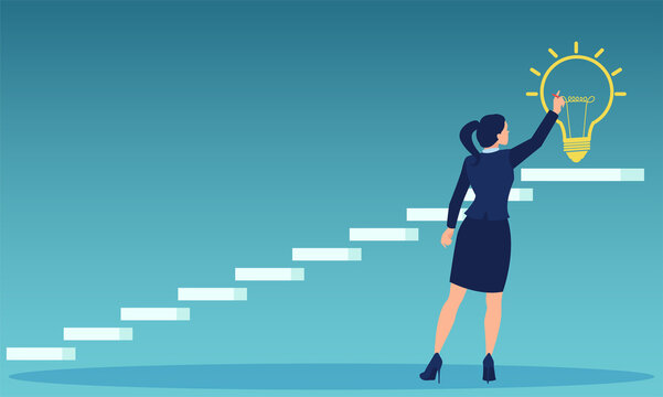Vector of a business woman dreaming big drawing bright light bulb on top of a staircase