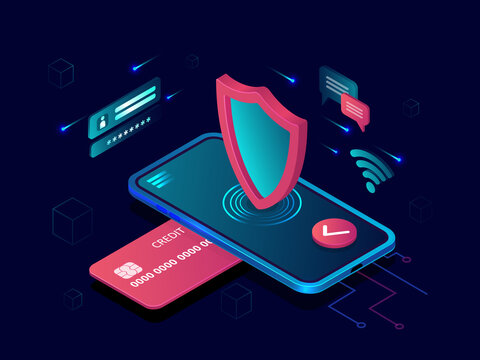 Vector of a smartphone and credit card, Internet secure bank transaction