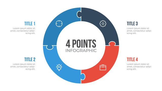 4 points circle infographic element vector with puzzle, can be used for workflow, steps, options, list, processes, presentation slide, report, etc.