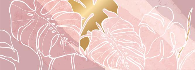 Luxury pink monstera background vector with golden metallic decorate wall art