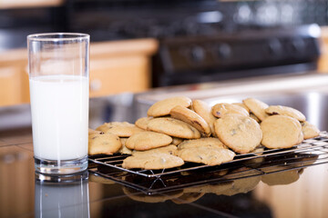 Snack of milk and cookies