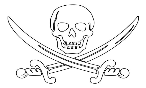 pirate skull with sword vector illustration isolated on white background