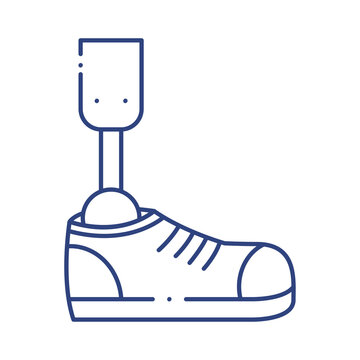 prosthesis of leg with shoe line style icon