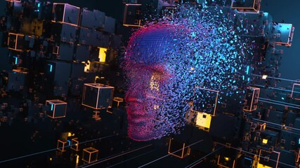 Wall Mural - Head consisting of blocks. Artificial intelligence concept. 3D animation