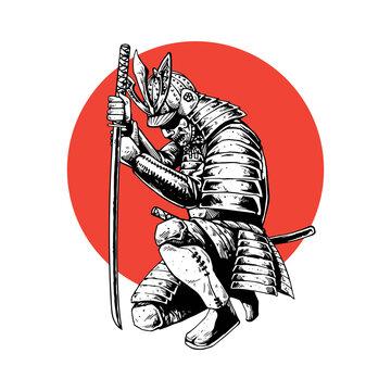 samurai hand drawing style