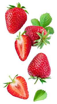 Strawberry with strawberries leaves and slices isolated on a white background. Clipping path.