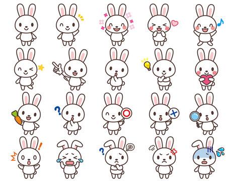 うさぎのかわいいキャラクターセット-Rabbit cute character set