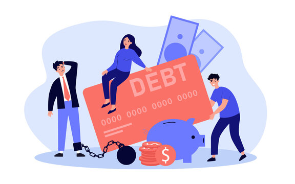 People caught in great debts trap, trying to spend less money and cut expenses, using credit card. Flat vector illustration for banking, bankruptcy, personal finance concept