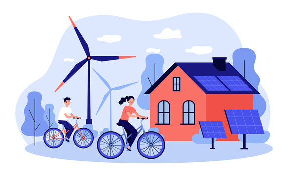 People riding bikes by windmills and solar power station. Flat vector illustration for eco friendly technology, transport, renewable energy, sustainable development concept