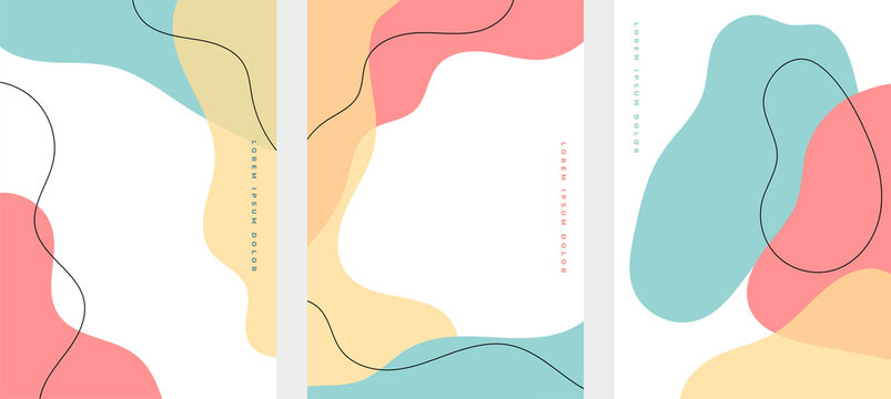 set of minimalist hand drawn fluid shapes background
