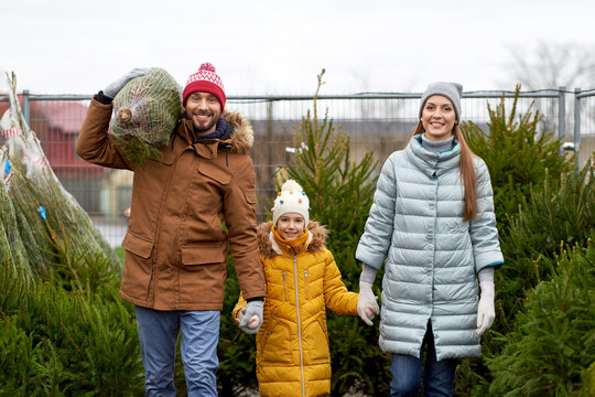 family, winter holidays and people concept - happy mother, father and little daughter buying christmas tree at street market