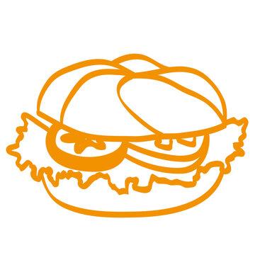 Handgezeichneter Burger in orange