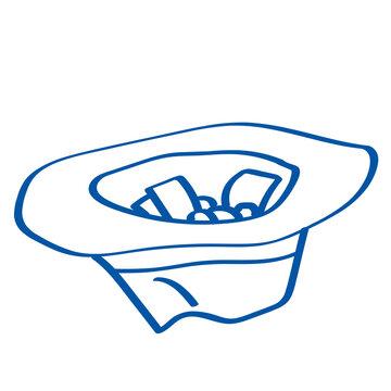 Handgezeichneter Hut in dunkelblau